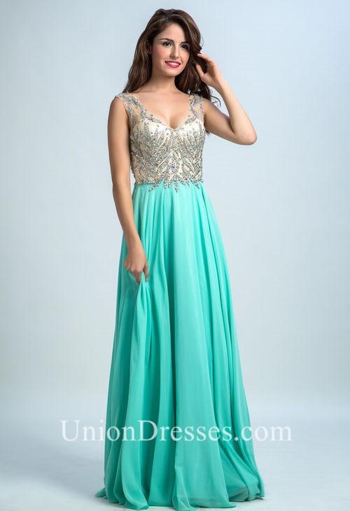 Stunning V Neck Open Back Mint Green Chiffon Beaded Long Prom Dress