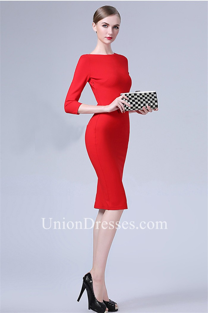 tight high neck backless short red jersey party evening