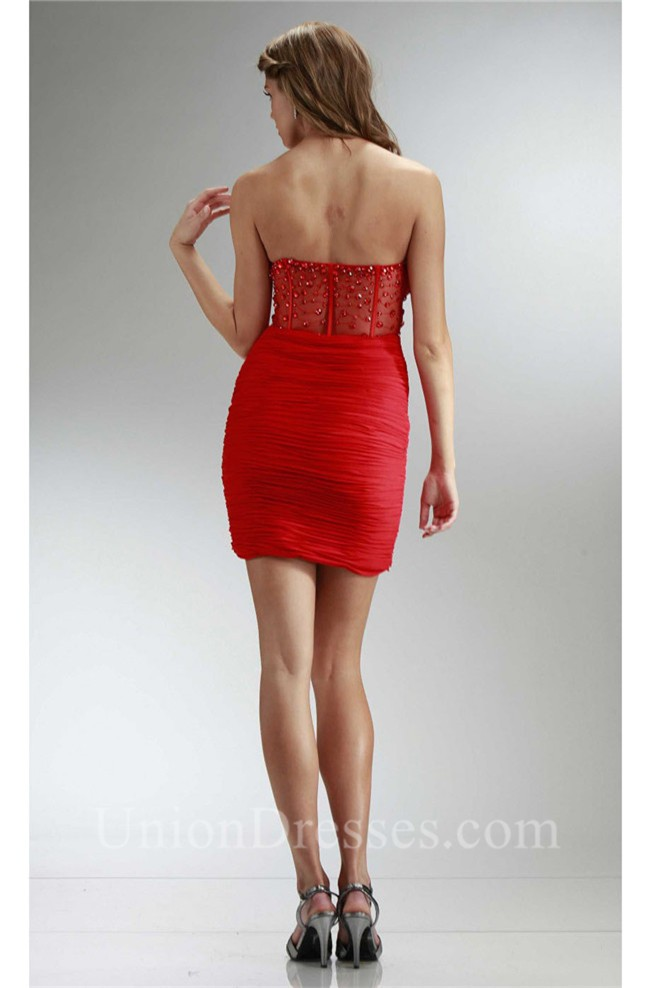 d8500d32a1d Tight Sweetheart Mini Red Chiffon Ruched Prom Dress With Beading Back  lightbox moreview