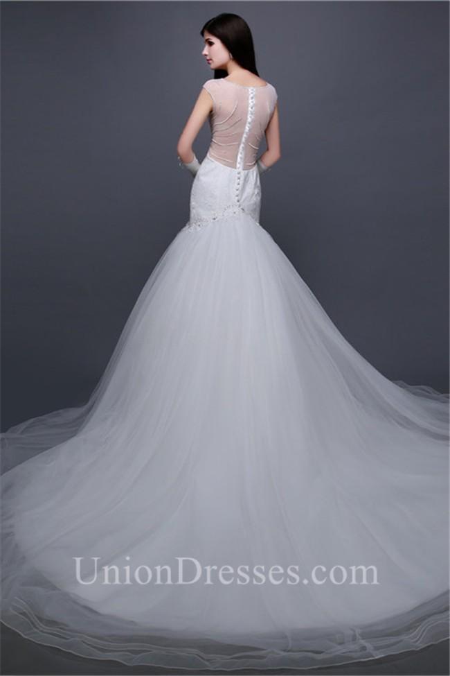 Trumpet Mermaid Boat Neck Sheer Back Tulle Lace Beaded Wedding Dress