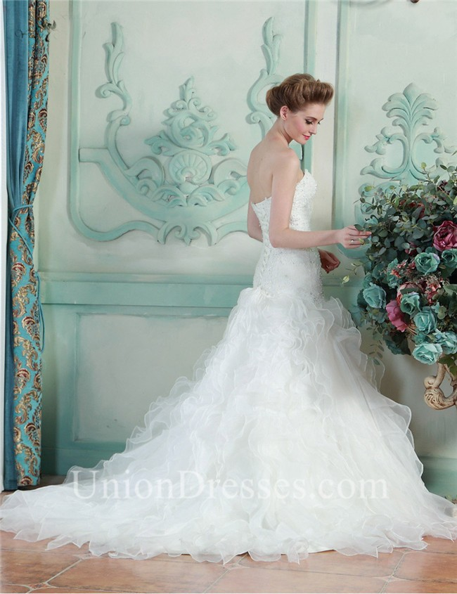 Trumpet Mermaid Sweetheart Organza Ruffle Lace Beaded Wedding Dress ...
