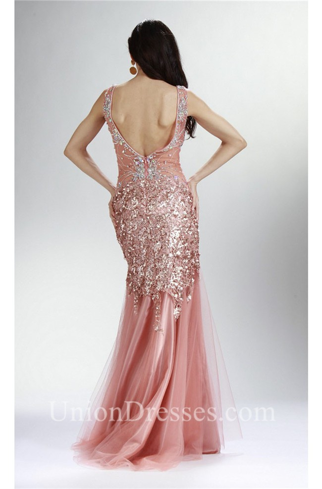 79e0d16fd2 Trumpet Scoop Neck Open Back Dusty Pink Tulle Lace Beaded Prom Dress  lightbox moreview