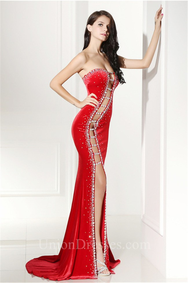 d936fe3c53f8 Unique Sexy Cutouts Long Red Charmeuse Beaded Prom Dress With Slit lightbox  moreview · lightbox moreview