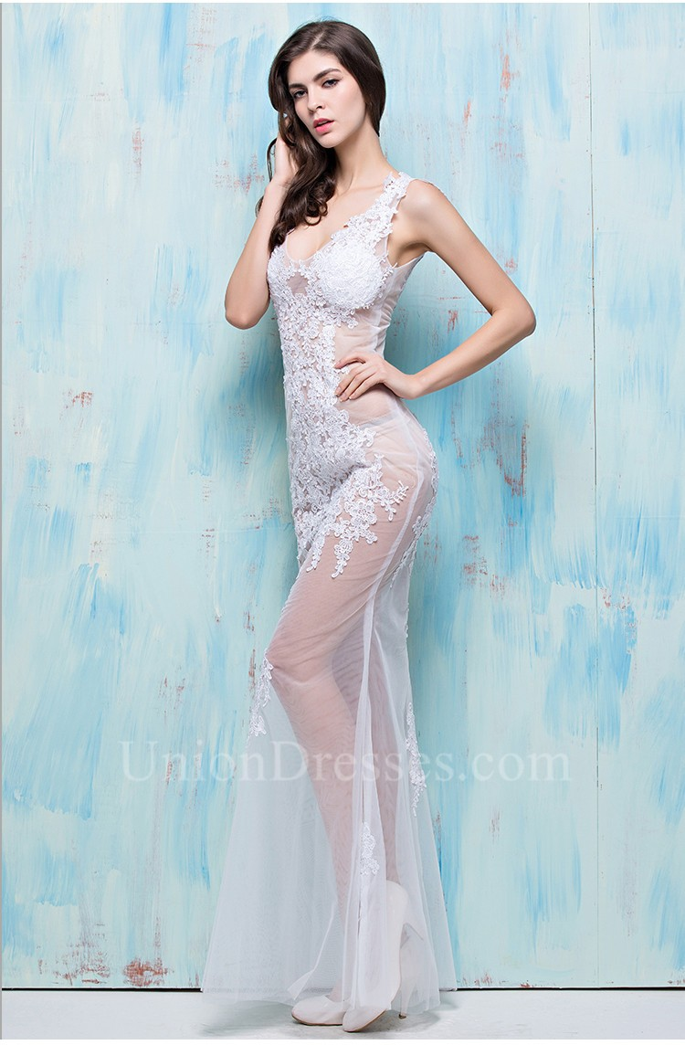 Unusual Sexy Mermaid V Neck White Tulle Lace See Through Evening ...