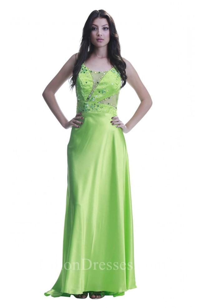 Unusual Sheath Cut Out Open Back Long Lime Green Silk Beaded Prom Dress