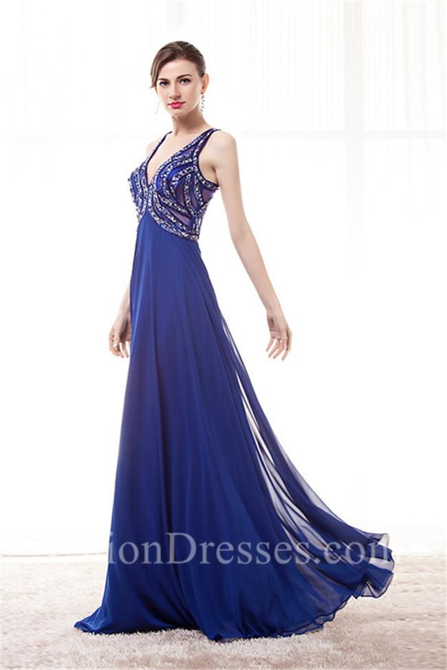 V Neck Empire Waist Cut Out Back Long Royal Blue Chiffon Beaded Prom ...