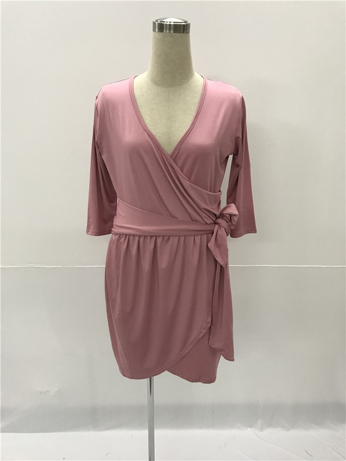 92e962c06a V Neck Short Dusty Rose Jersey Ruched Plus Size Dress With Sleeves Sash  lightbox moreview · lightbox moreview · lightbox moreview · lightbox  moreview