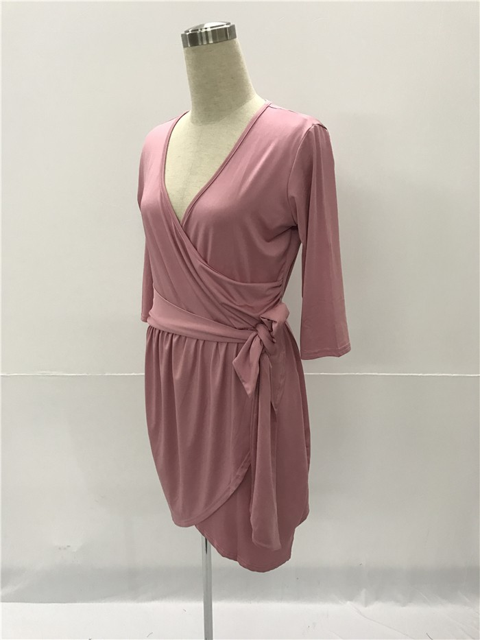 4e1098ac72 V Neck Short Dusty Rose Jersey Ruched Plus Size Dress With Sleeves Sash
