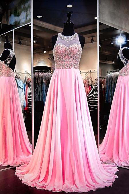 Jewel neckline prom dress