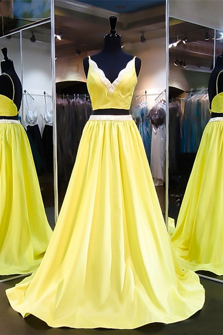 Neon Yellow Two Piece Prom Dress