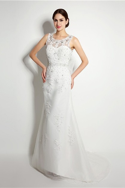 Sheath Scoop Neck V Back Organza Lace Beaded Wedding Dress With Bow