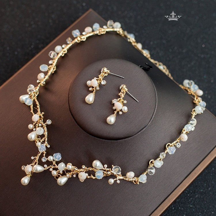 87c6b9def Boho Gold Alloy Crystal Pearl Wedding Jewelry Set Including Necklace  Earrings