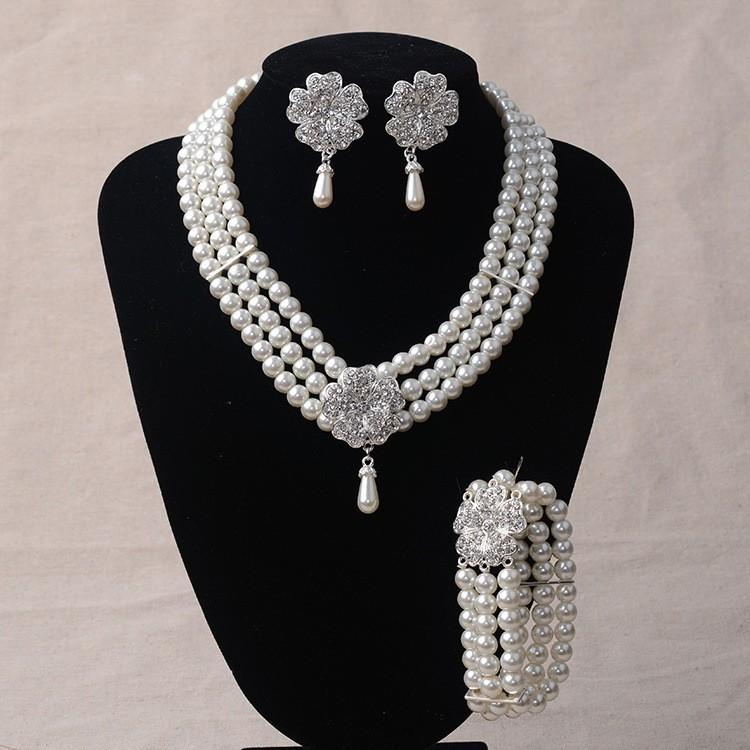 Elegant Pearl Diamond Wedding Bridal Jewelry Set Including