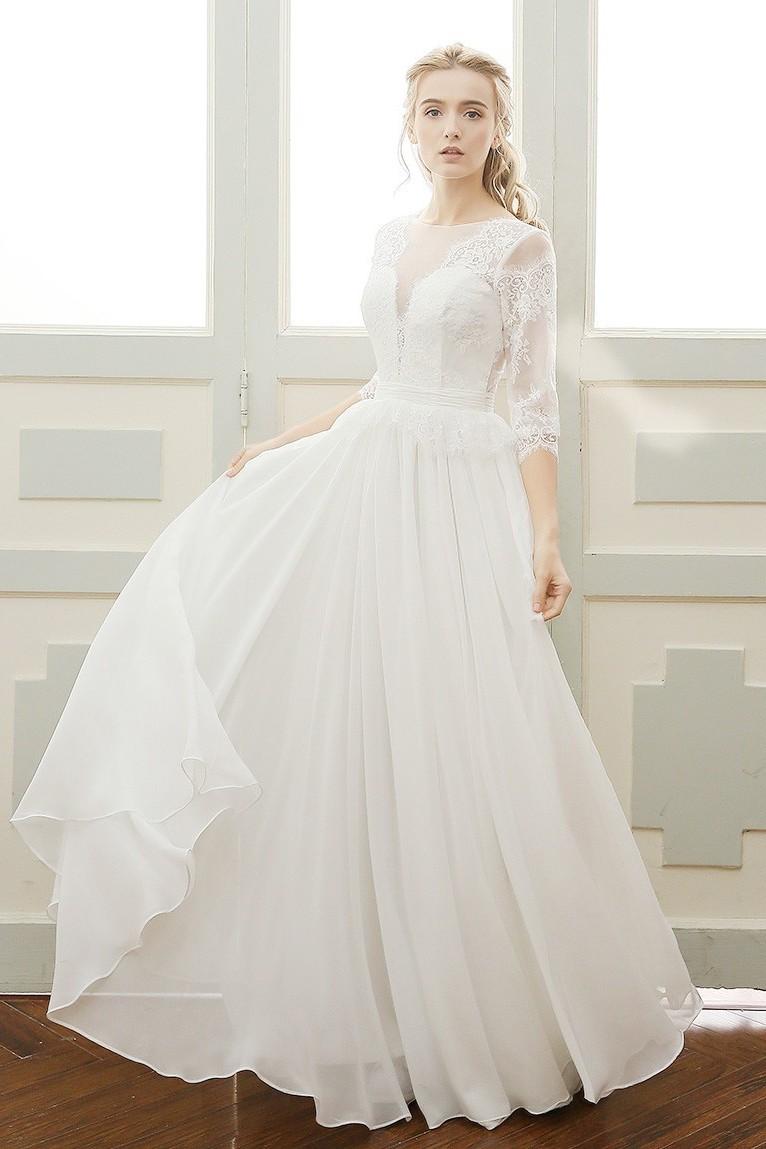 Elegant A Line Illusion Neckline Open Back 3 4 Sleeve White Lace Chiffon Wedding Dress
