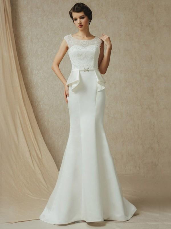 Beautiful Mermaid Scoop Cap Sleeve Open Back Beaded Lace Satin Wedding Bridal Dress