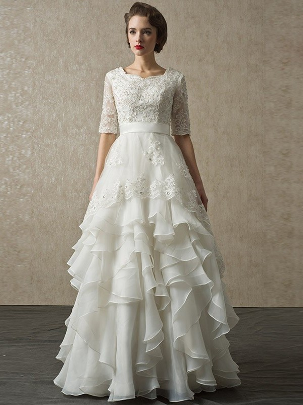 Modest A Line Half Sleeve Corset Beaded Lace Layered Organza Wedding Bridal Dress