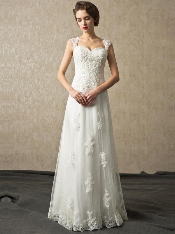 Elegant A Line Sweetheart Cap Sleeve Corset Open Back Beaded Lace Wedding Bridal Dress