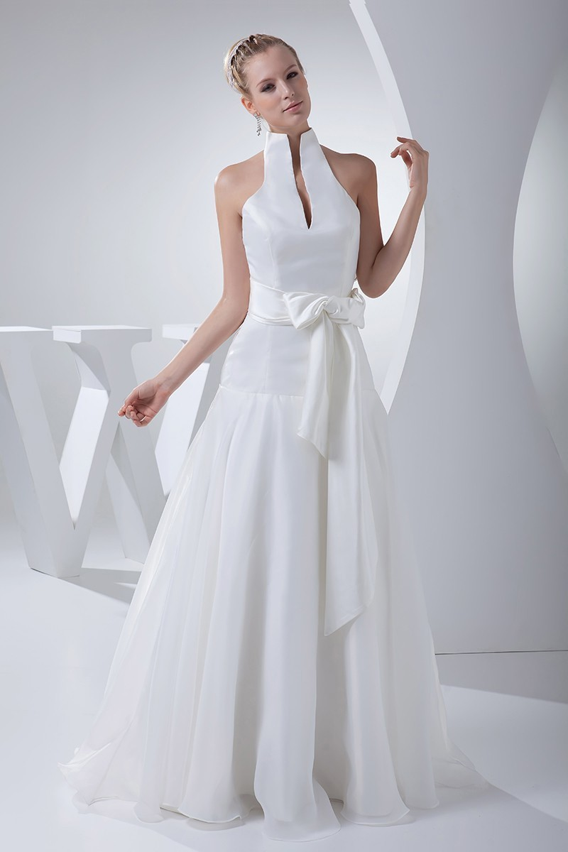 Simple A Line High Neck White Wedding Dress Bridal Gown With Bow Sash