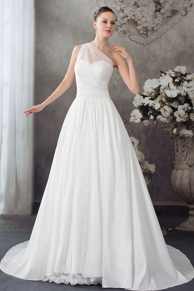 One Shoulder Wedding Dress.Simple A Line One Shoulder White Chiffon Lace Wedding Dress Bridal Gown