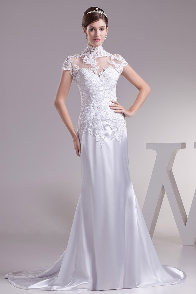 Beautiful Mermaid High Neck Cap Sleeve Beaded Liques White Silk Wedding Dress Bridal Gown