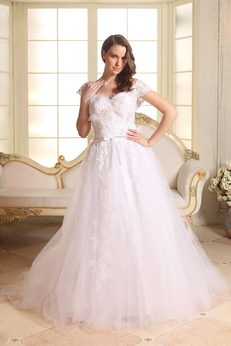 Sweetheart Cap Sleeve A Line Wedding Dress With Lace Liques And Chapel Train Online Ucenter Offers Tons Of High Quality Collections At