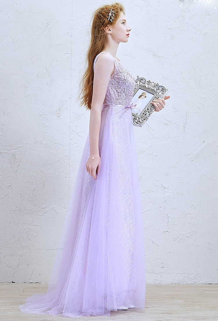 the best new images of low cost Romantic Scoop Embellished Lilac Lace A Line Prom Bridesmaid Dress With Bow