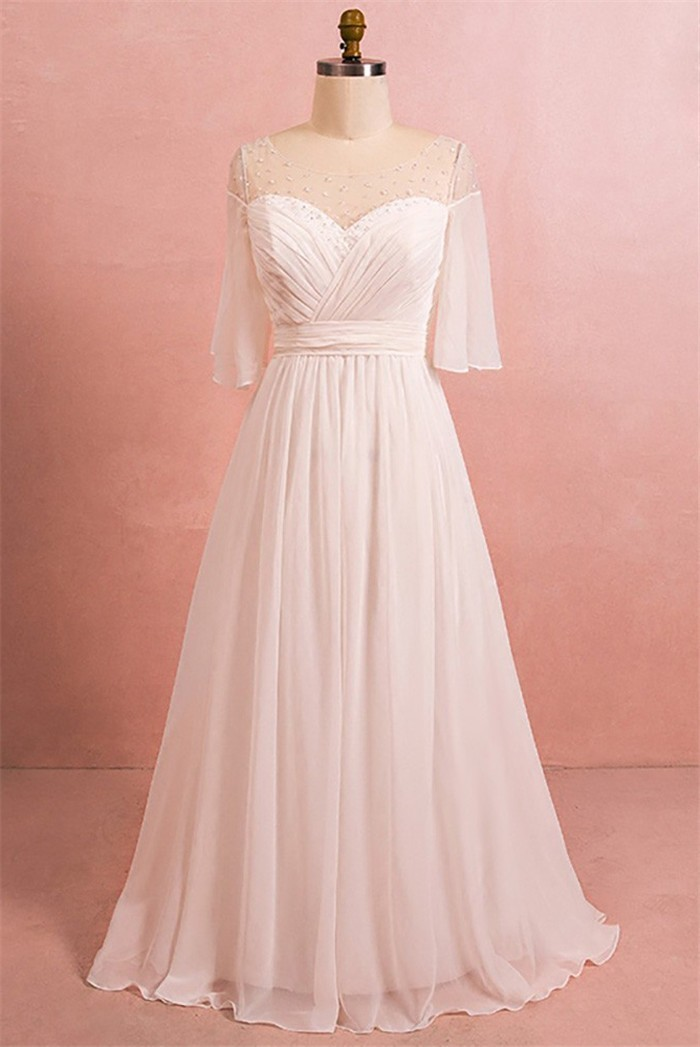 A Line Bateau Illusion Neckline Corset Chiffon Plus Size Wedding Dress With  Sleeves