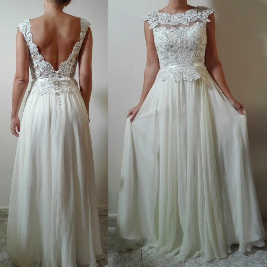 A Line Cap Sleeve Low Back Long Ivory Chiffon Lace Beaded Wedding Dress With Belt