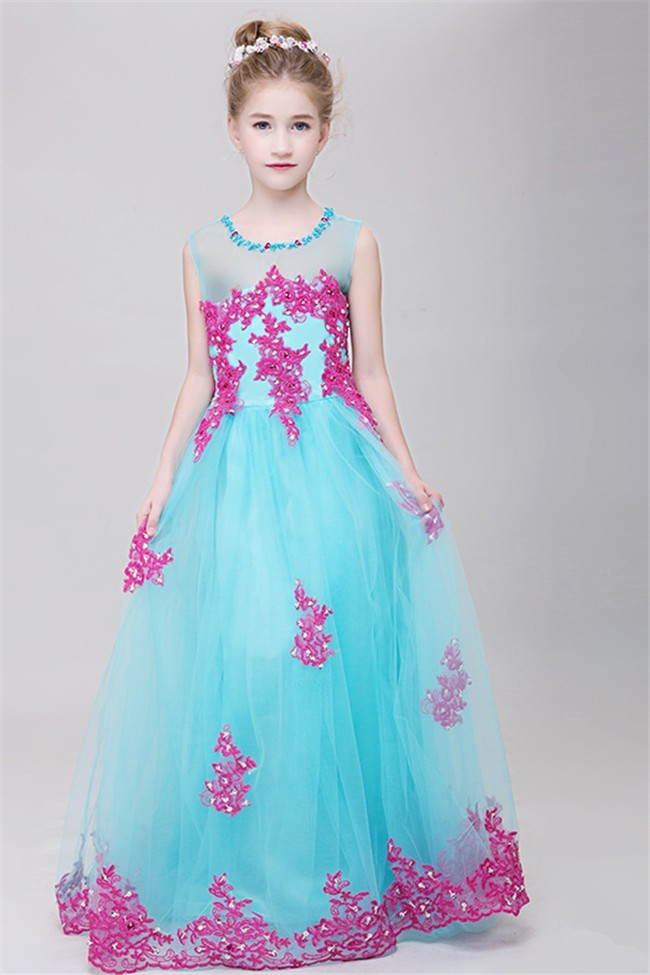 A Line Illusion Neckline Aqua Tulle Hot Pink Lace Girl ...