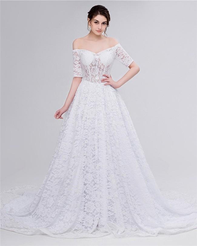 A Line Off The Shoulder Corset Back Lace Wedding Dress