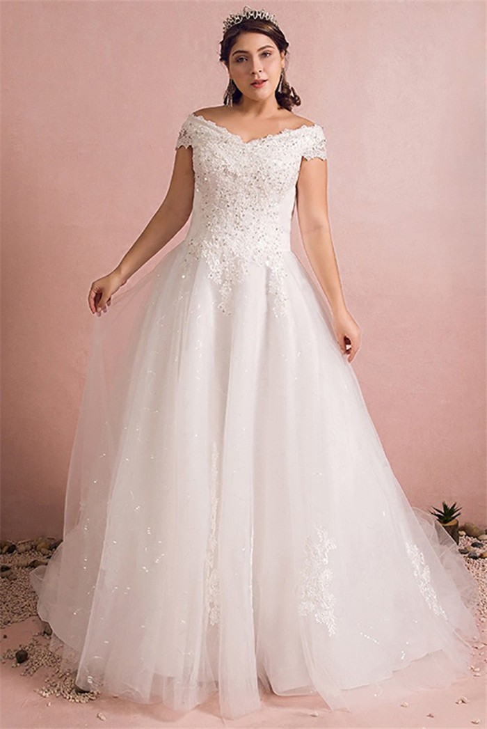 Wedding Dress Plus Size.A Line Off The Shoulder Corset Back Tulle Lace Beaded Plus Size Wedding Dress