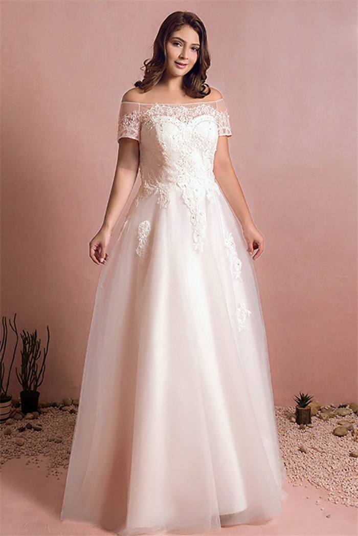 A Line Off The Shoulder Corset Back Tulle Lace Plus Size Wedding Dress  Without Train