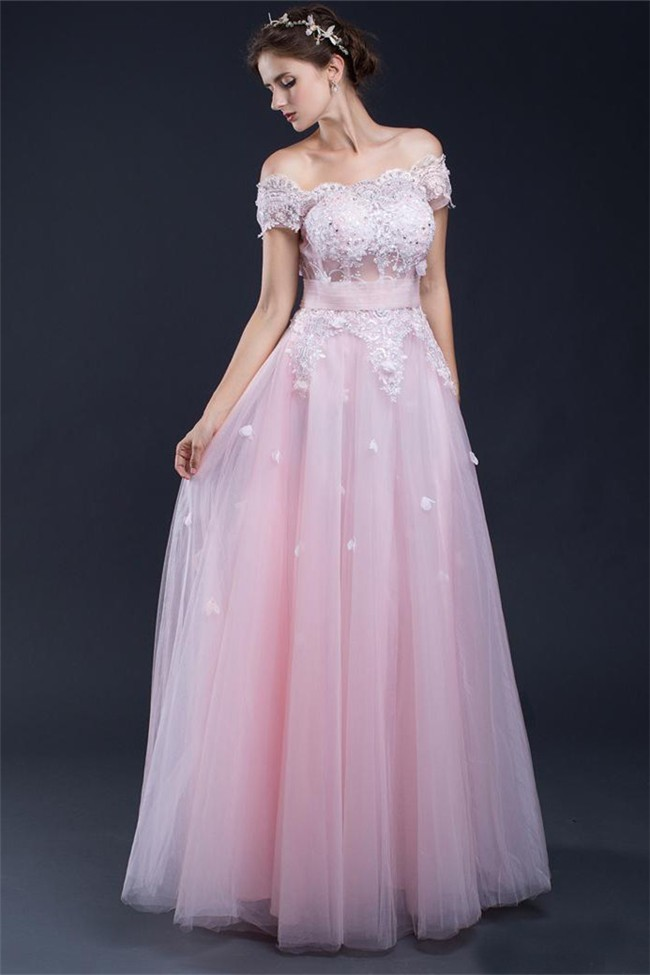 A Line Off The Shoulder Long Light Pink Tulle Lace Prom Dress With Flowers