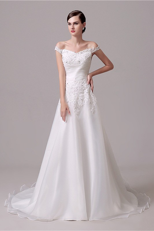 A Line Off The Shoulder Organza Lace Beaded Wedding Dress Court Train
