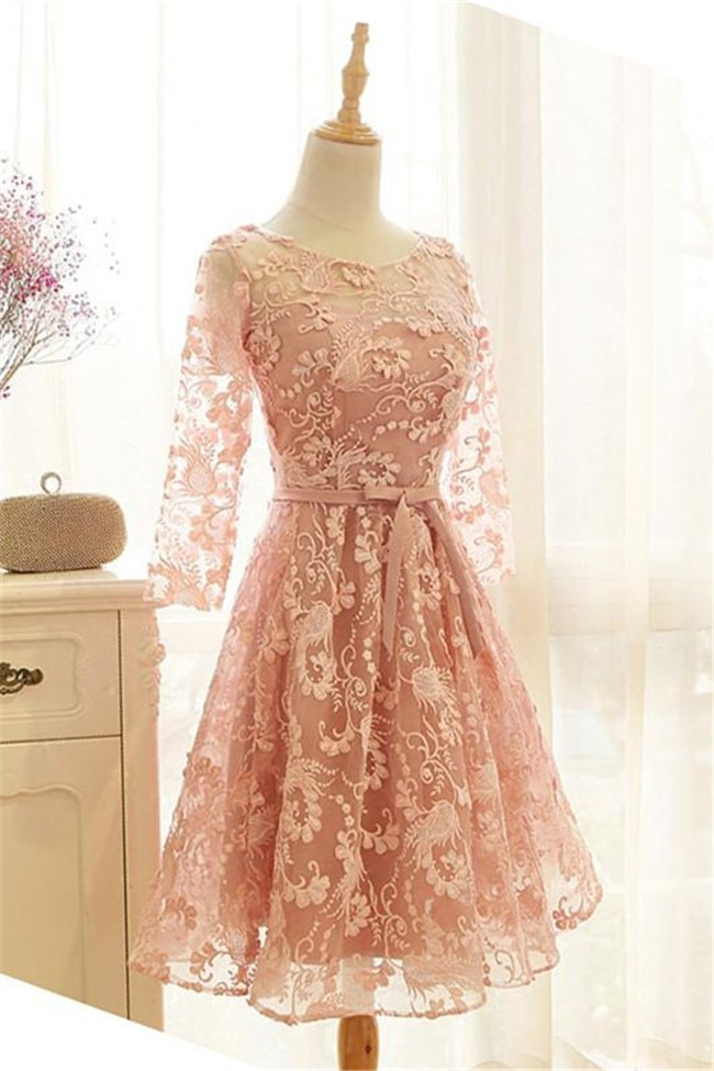 volume large sale choose best A Line Peach Lace Sleeve Short Party Prom Dress With Sash