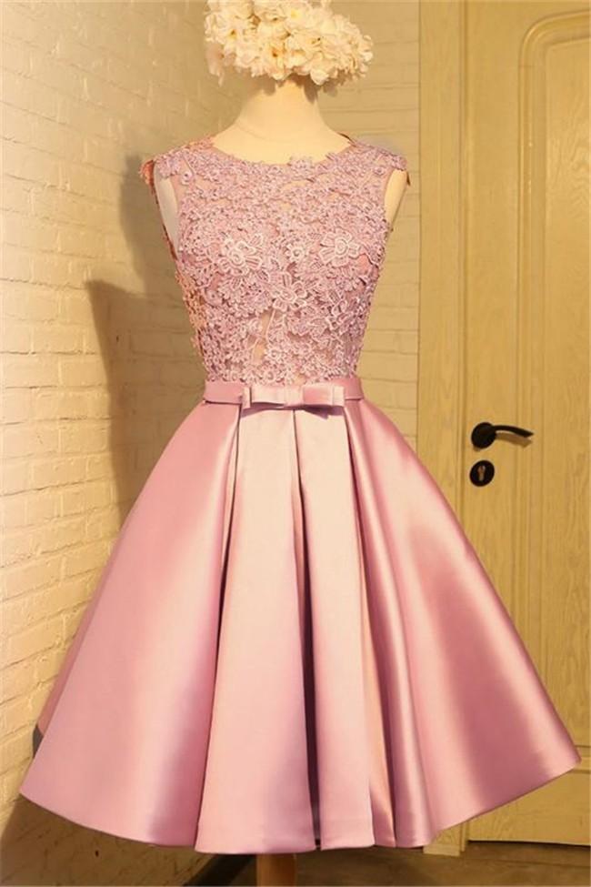 A Line Round Neck V Back Short Dusty Rose Satin Lace Prom