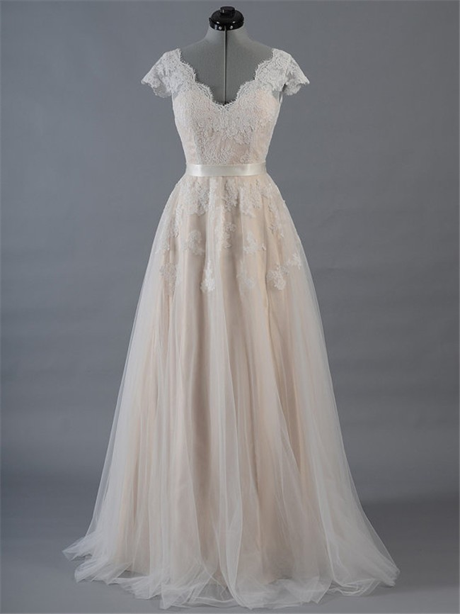 A Line Scalloped Neck Champagne Satin Tulle Lace Wedding Dress With Sleeves