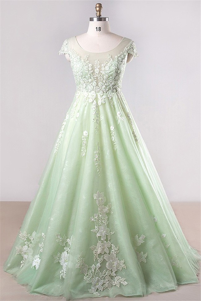 A Line Scoop Neck Cap Sleeve Light Green Tulle Lace Plus Size Prom Dress