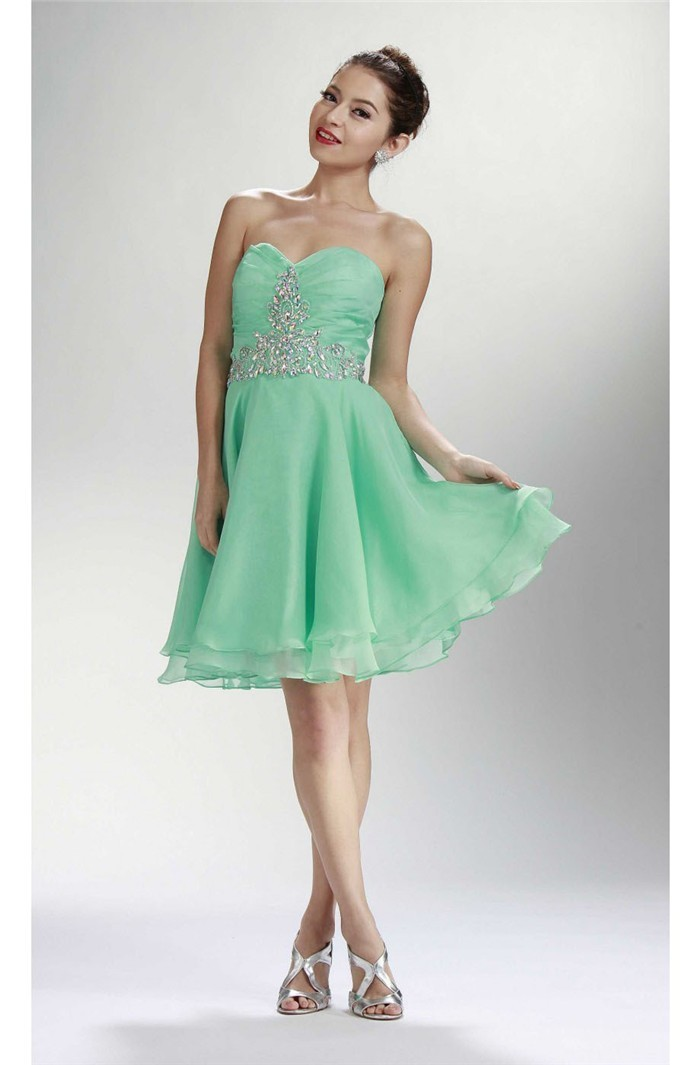 A Line Strapless Corset Short Mint Green Chiffon Rhinestone Prom Dress