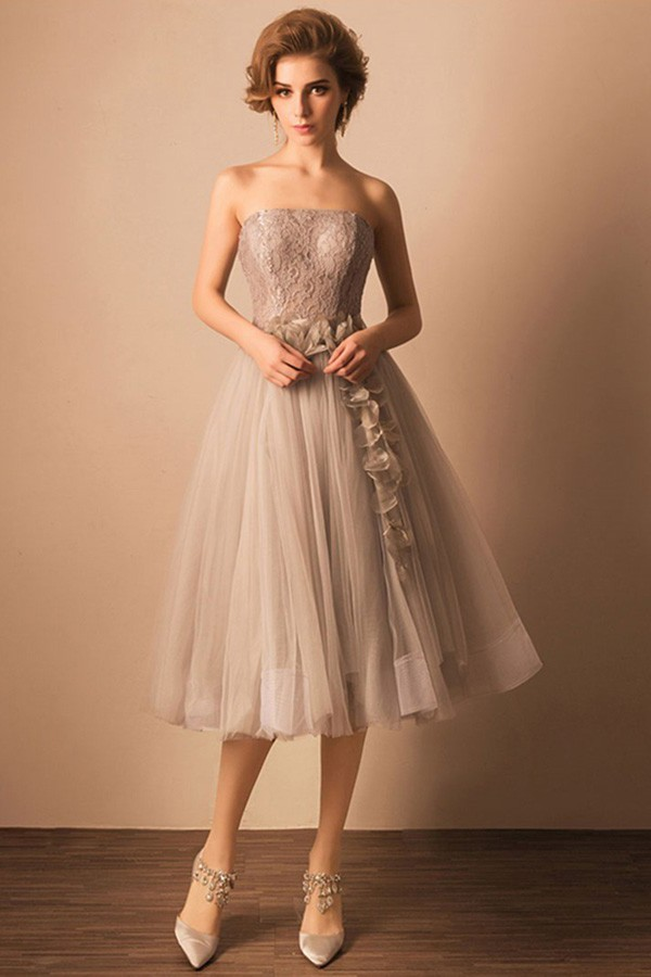 A Line Strapless Straight Neckline Tea Length Grey Tulle Lace Prom Dress