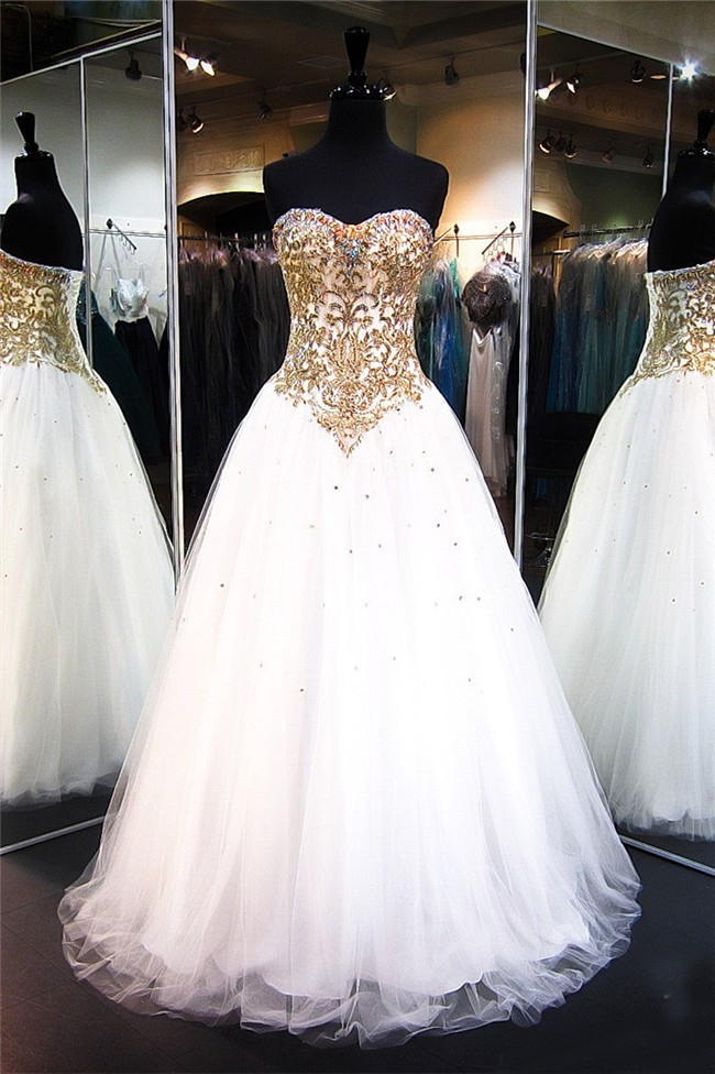 A Line Strapless White Tulle Gold Lace Beaded Prom Dress