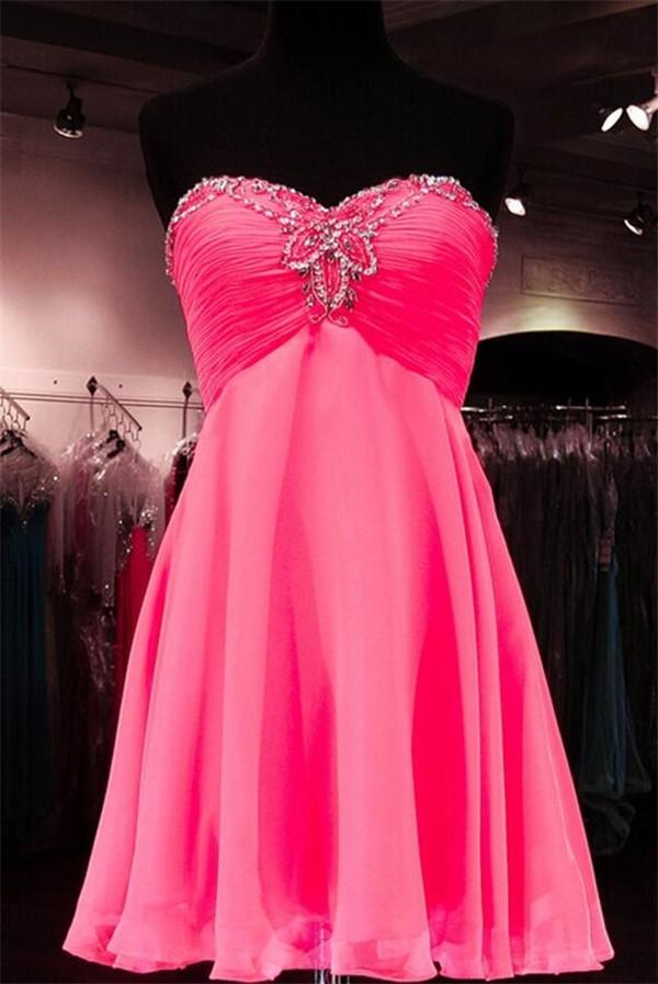 A Line Sweetheart Empire Waist Short Hot Pink Chiffon