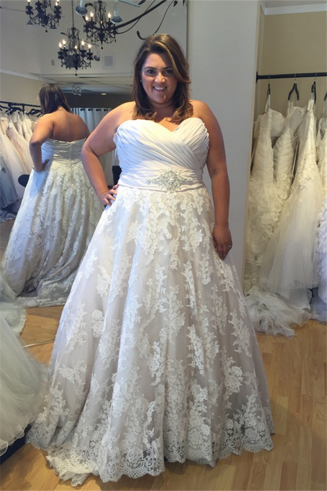 A Line Sweetheart Ruched Satin Lace Plus Size Wedding Dress With Crystals