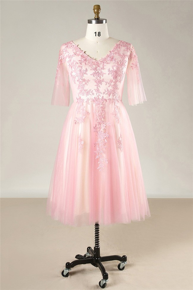 A Line V Neck Corset Back Short Pink Tulle Lace Plus Size Prom Dress With  Sleeves
