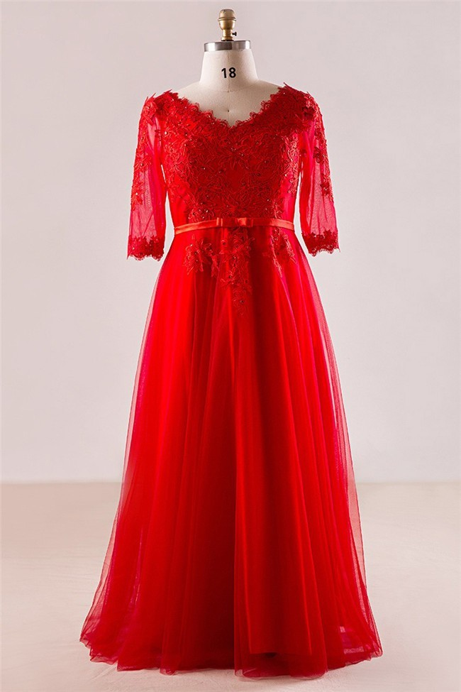 A Line V Neck Long Sleeve Corset Back Red Tulle Lace Plus Size Prom Dress