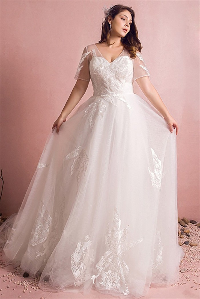 A Line V Neck Short Sleeve Tulle Lace Plus Size Wedding Dress Corset Back
