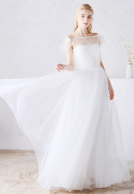 Adorable Bateau Illusion Neckline Tulle Outdoor Boho Wedding Dress With Slit