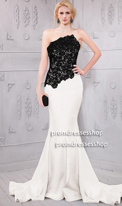 Asymmetrical Strapless White Satin Black Lace Formal Occasion Evening Dress