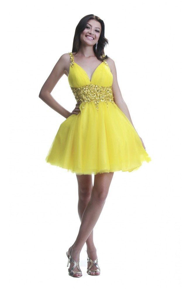 cheaper sale many fashionable special selection of Ball Backless Short Yellow Tulle Cocktail Prom Dress With Straps
