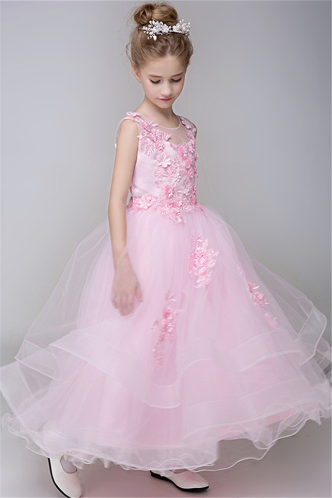 Ball Gown Illusion Neckline Light Pink Tulle Ruffle Lace